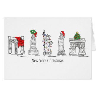 New York Christmas NYC Landmarks City Holiday Card