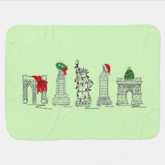 New York Christmas NYC Landmarks Holiday Blanket Stroller Blanket