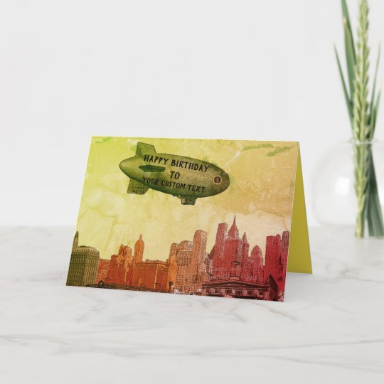 New York City 1930s Skyline Blimp Your Birthday Card Zazzle