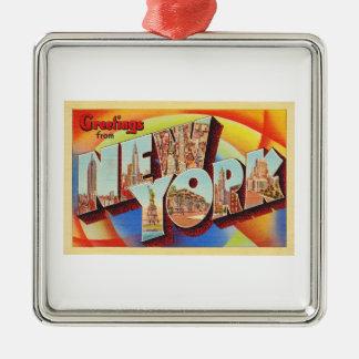 New York City #2 NY Large Letter Travel Postcard - Metal Ornament