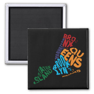 New York City 5 Boroughs Calligram Map 2 Inch Square Magnet