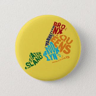 New York City 5 Boroughs Calligram Map Badge Pinback Button