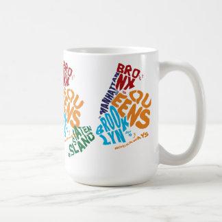 New York City 5 Boroughs Calligram Map Coffee Mug