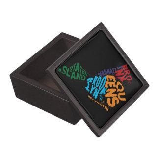 New York City 5 Boroughs Calligram Map Jewelry Box