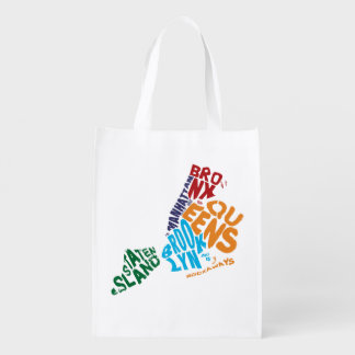 New York City 5 Boroughs Calligram Map Reusable Grocery Bag