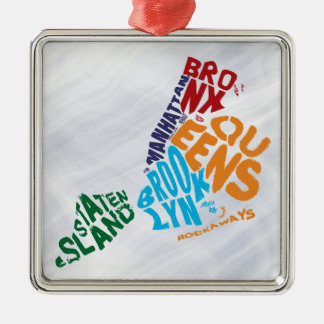 New York City 5 Boroughs Calligram Map Square Metal Christmas Ornament