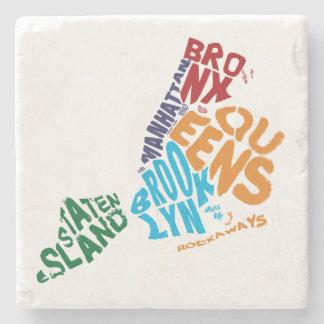New York City 5 Boroughs Calligram Map Stone Coaster