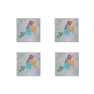 New York City 5 Boroughs Calligram Map Stone Magnet