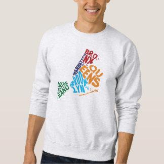 New York City 5 Boroughs Calligram Map Sweatshirt