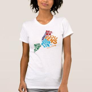 New York City 5 Boroughs Calligram Map T-Shirt