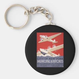 New York City airports Basic Round Button Keychain