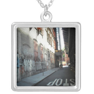 New York City Alley on a Summer Day Square Pendant Necklace