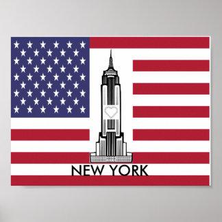 New York City American Flag Poster