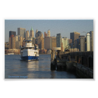 New York City and Boat Poster