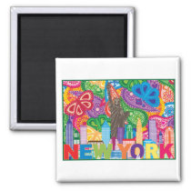 New York City and Statue of Liberty drawing Magnet