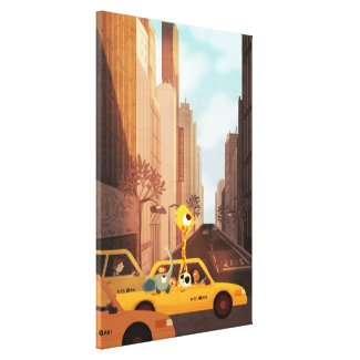"New York City Animal Taxi Art ExLg ""Yellow Cab"" Canvas Print"
