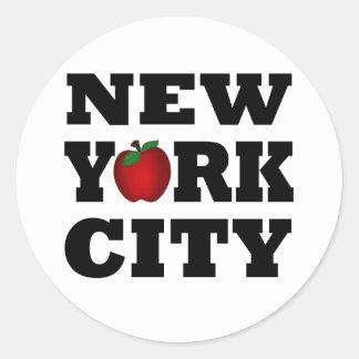 New York City (Apple grande) Pegatina Redonda