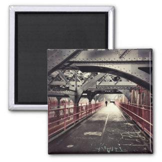 New York City Architecture - Williamsburg Bridge 2 Inch Square Magnet