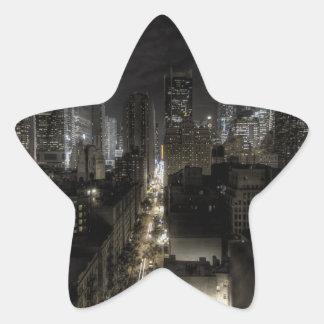 New York City at Night HDR Star Sticker
