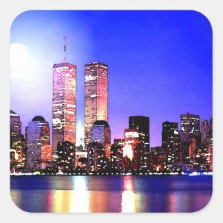 New York City at Night Square Sticker