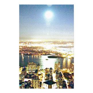 New York city At night Custom Stationery
