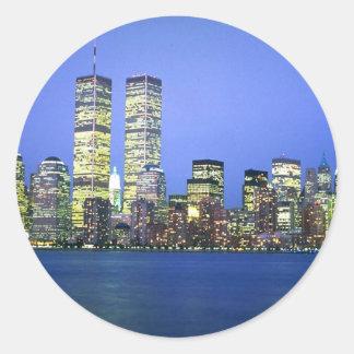 New York City at Night Round Stickers
