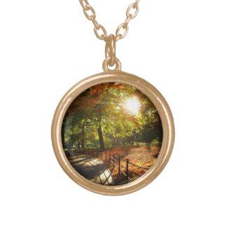 New York City Autumn Sun Round Pendant Necklace