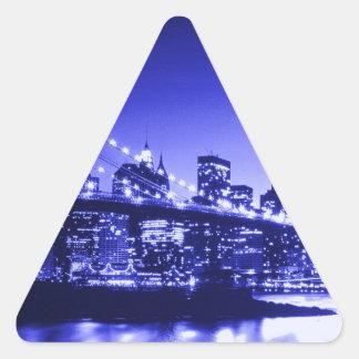 New York City azul Pegatina Triangular