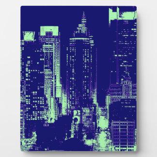 New York City azul Placa
