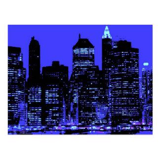 New York City azul Tarjetas Postales