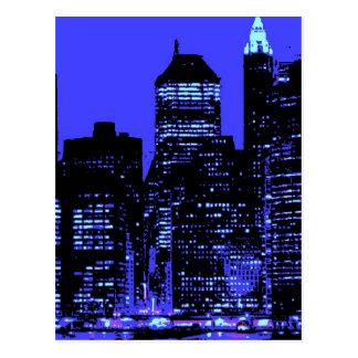 New York City azul Postal