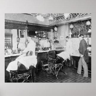 New York City Barber Shop, 1895. Vintage Photo Poster