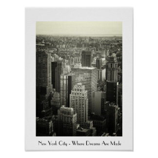 New York City Black and White Cityscape Poster