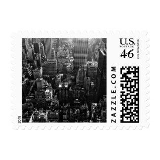 new york city black white street scene from sky postage stamps