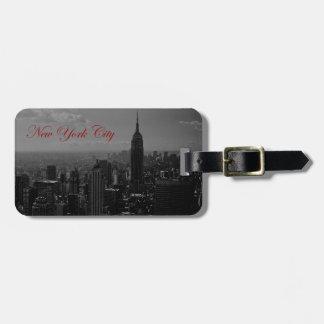 New York City blanco negro Etiqueta De Maleta