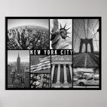 New York City blanco y negro Póster
