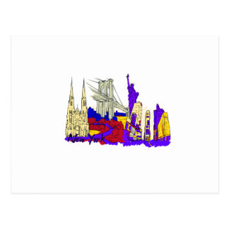 new york city blue city image.png postcard