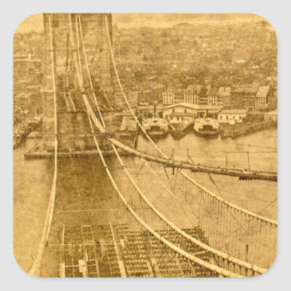 New York City Brooklyn Bridge Construction 1870s Square Sticker