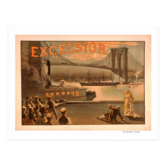 "New York City Brooklyn Bridge ""Excelsior"" Postcard"