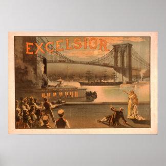 "New York City Brooklyn Bridge ""Excelsior"" Print"