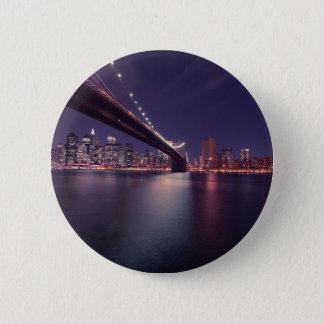 New York City Brooklyn Bridge Night Skyline Button