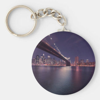 New York City Brooklyn Bridge Night Skyline Keychain