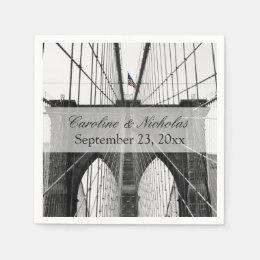 New York City Brooklyn Bridge Wedding Paper Napkin