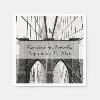 New York City Brooklyn Bridge Wedding Paper Napkin