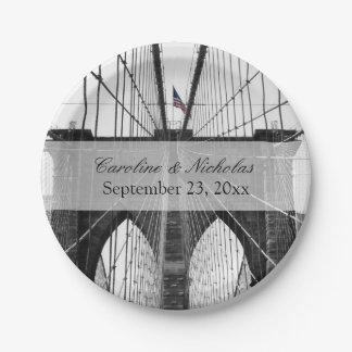 New York City Brooklyn Bridge Wedding Paper Plate