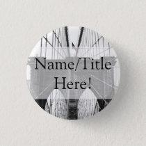 New York City Brooklyn Bridge Wedding Pinback Button