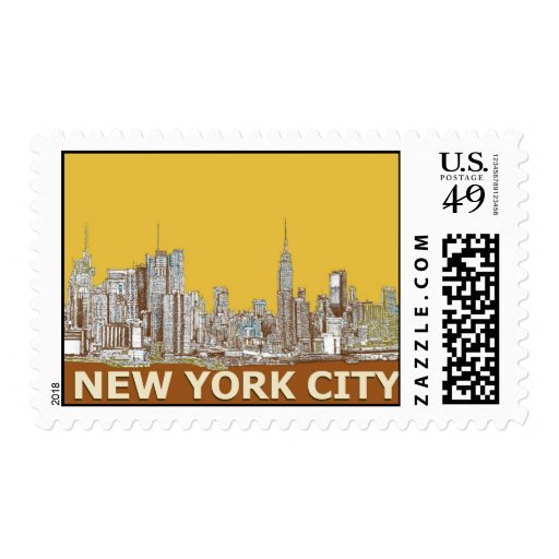 New York city brown yellow Postage Stamps
