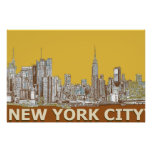 New York city brown yellow Poster