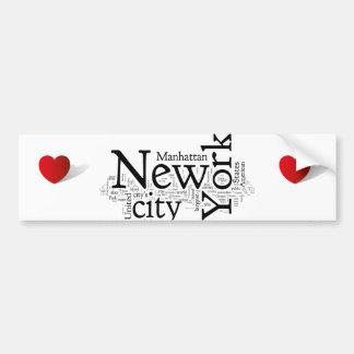 New York City Etiqueta De Parachoque