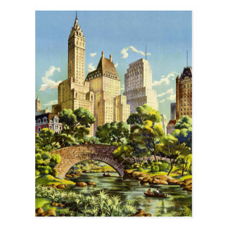 New York City Central Park Vintage Poster Postcard